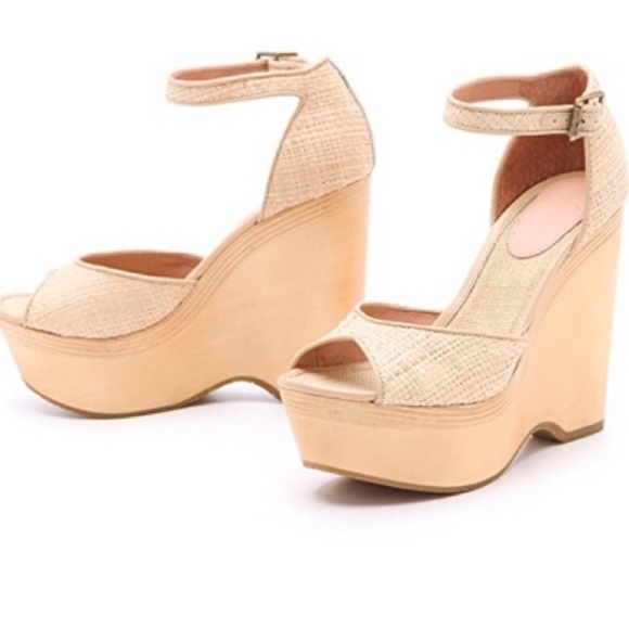 Joie Shoes - JOIE WEBER Natural Straw Wood Wedges Sandals Peep